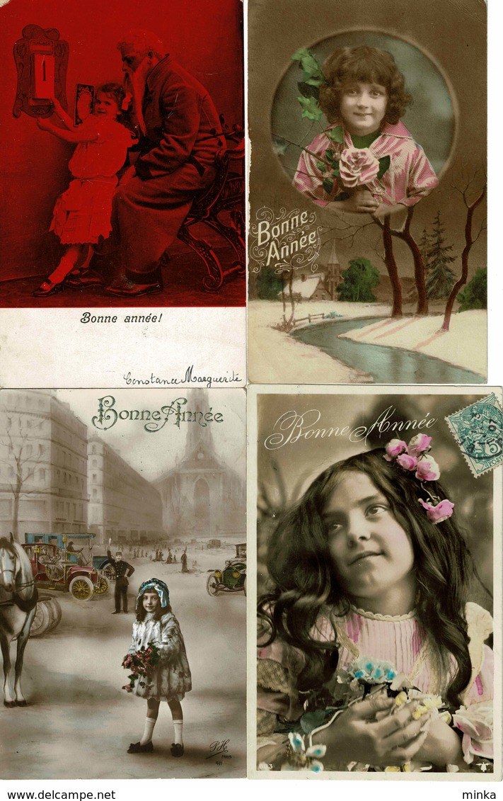 Lot Van 8 Fantasie Postkaarten - Bonne Annee - Gelukkig Nieuwjaar - Postkaarten