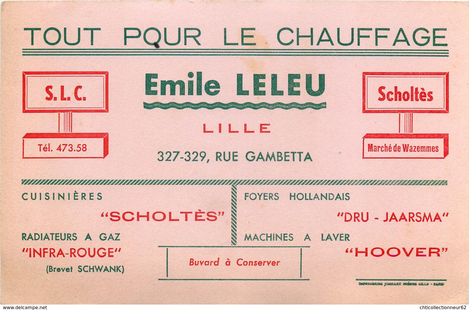 Buvard Ancien EMILE LELEU - CHAUFFAGE RADIATEURS A GAZ CUISINIERES - S L C SCHOLTES - WAZEMMES - Electricité & Gaz