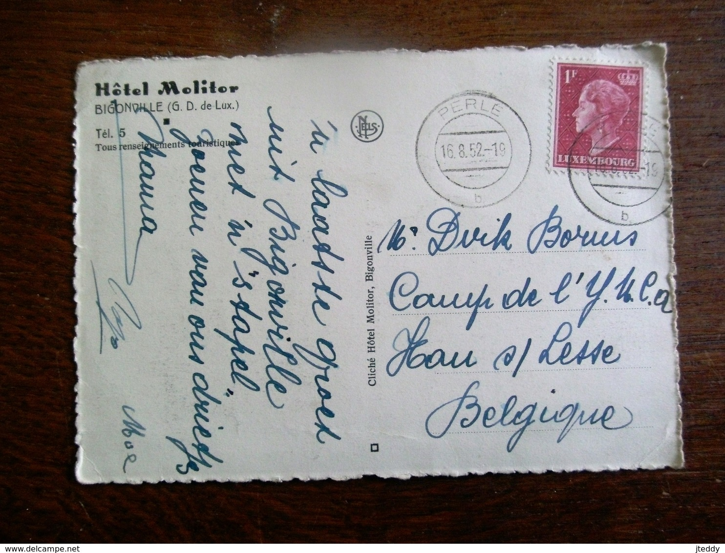Oude Postkaart 1952   Hotel  MOLITOR   Bigonville - Cartes Postales