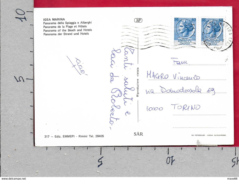 CARTOLINA VG ITALIA - IGEA MARINA (RN) - Panorama Della Spiaggia E Alberghi - 10 X 15 - ANN. 1977 - Rimini