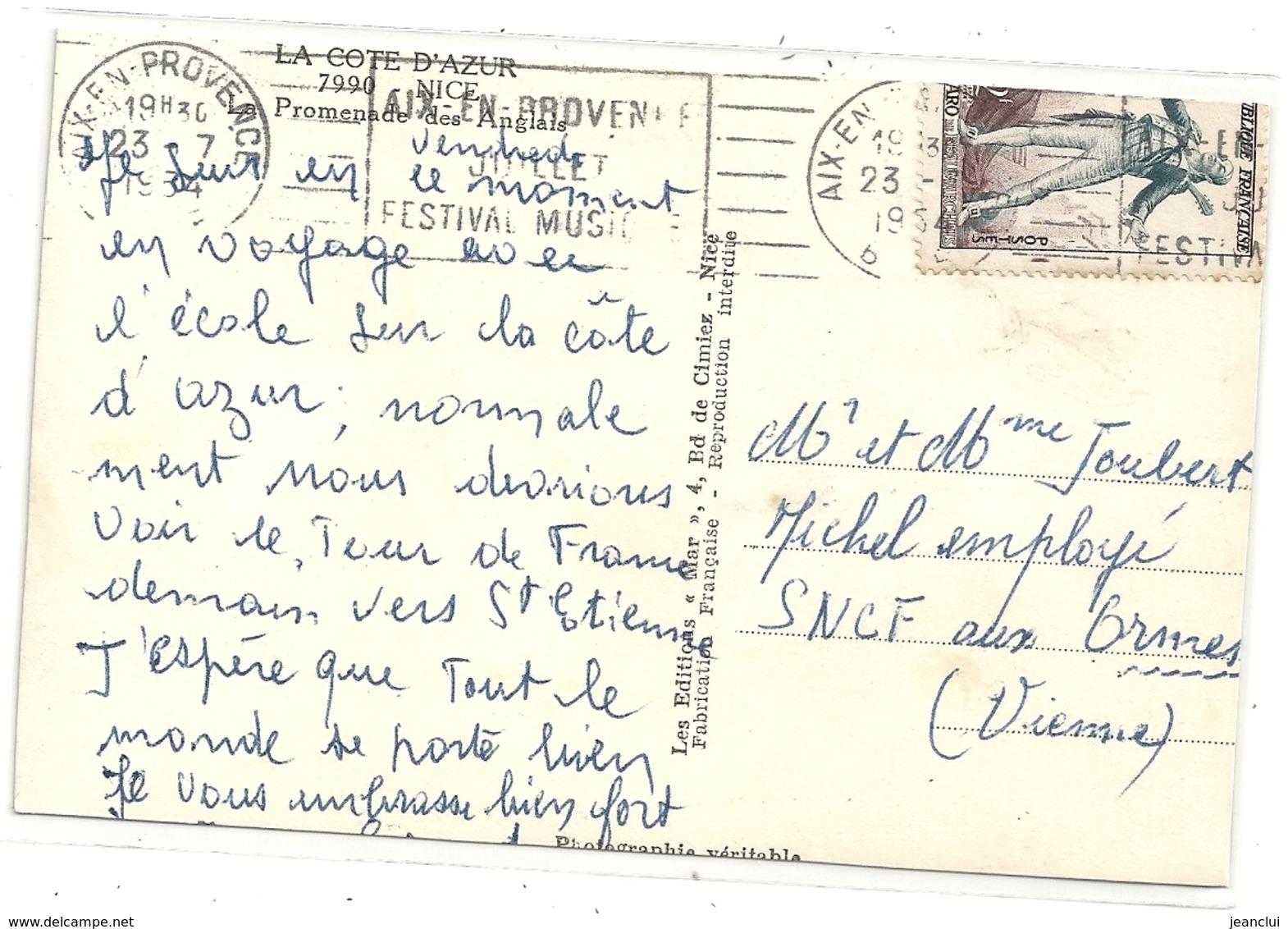 Cpsm Format Cpa. 7990. NICE . PROMENADE DES ANGLAIS . CARTE AFFR LE 23-7-1954 AU VERSO . 2 SCANES - Marchés, Fêtes