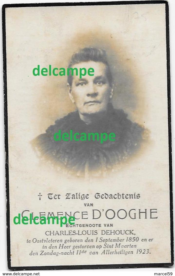 Doodsprentje Clemence D'Ooghe Oostvleteren 1850 En Aldaar Overleden 1923 Dehouck Charles Bidprentje - Imágenes Religiosas