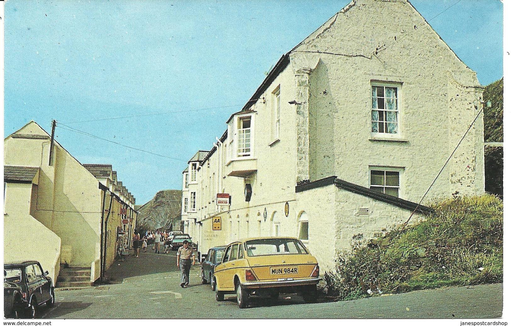 1980's Postcard HARTLAND QUAY HOTEL - HARTLAND - DEVON WITH MINI, CAPRI, AUSTIN - England
