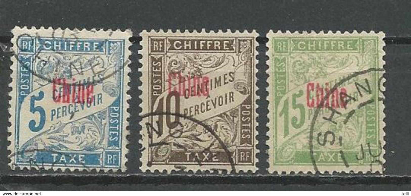 CHINE Scott J1-J3 Yvert Taxe 1-3 (3) O 18,00 $ 1901-1907 - Chine (1894-1922)