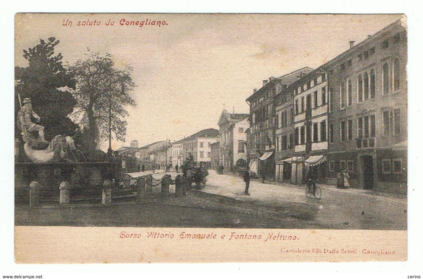 CONEGLIANO:  UN  SALUTO  DA ... -  CORSO  VITTORIO  EMANUELE  E  FONTANA  NETTUNO  -  FP - Treviso