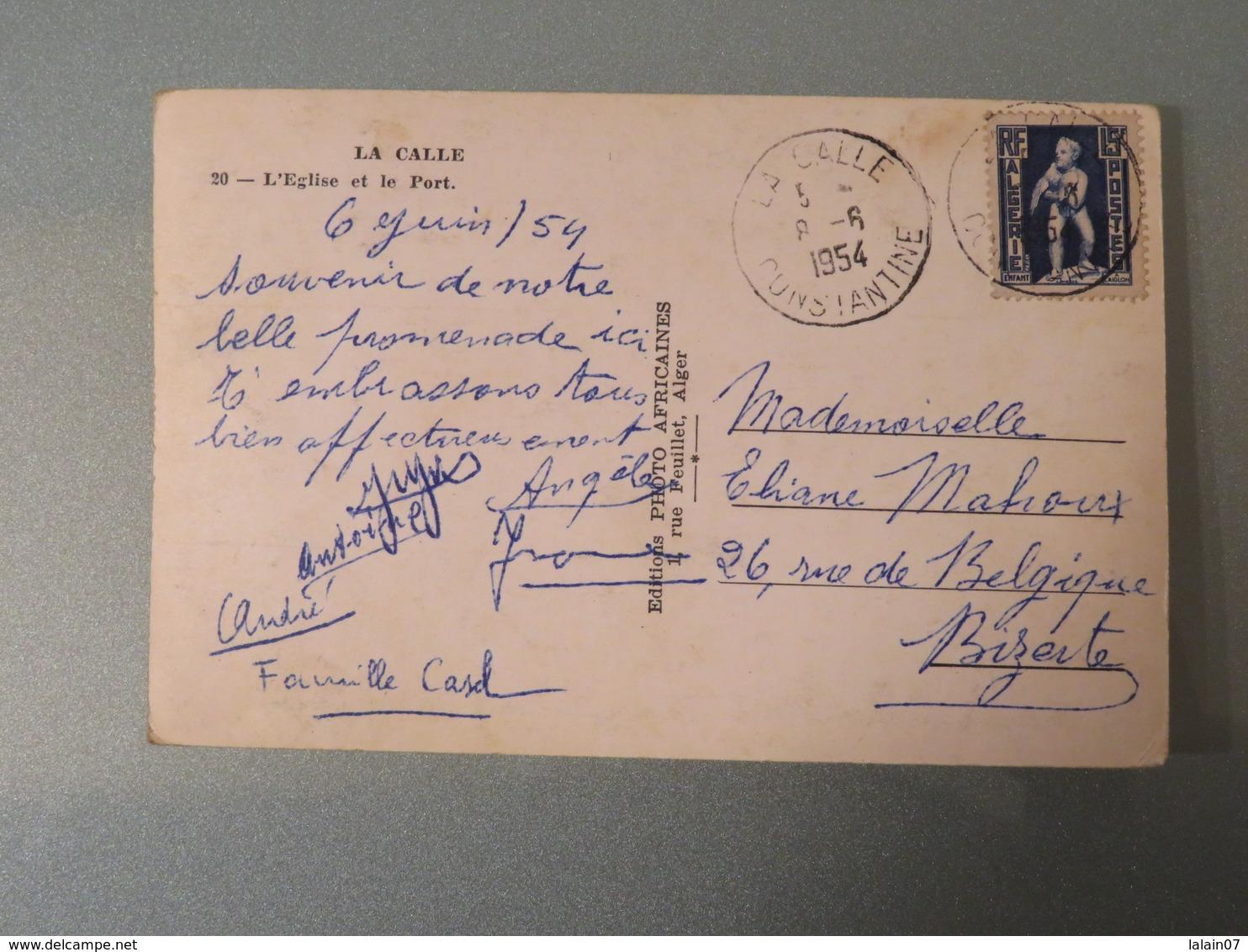 Carte Postale : Algérie : LA CALLE : L'Eglise Et Le Port, Timbre En 1954 - Algérie