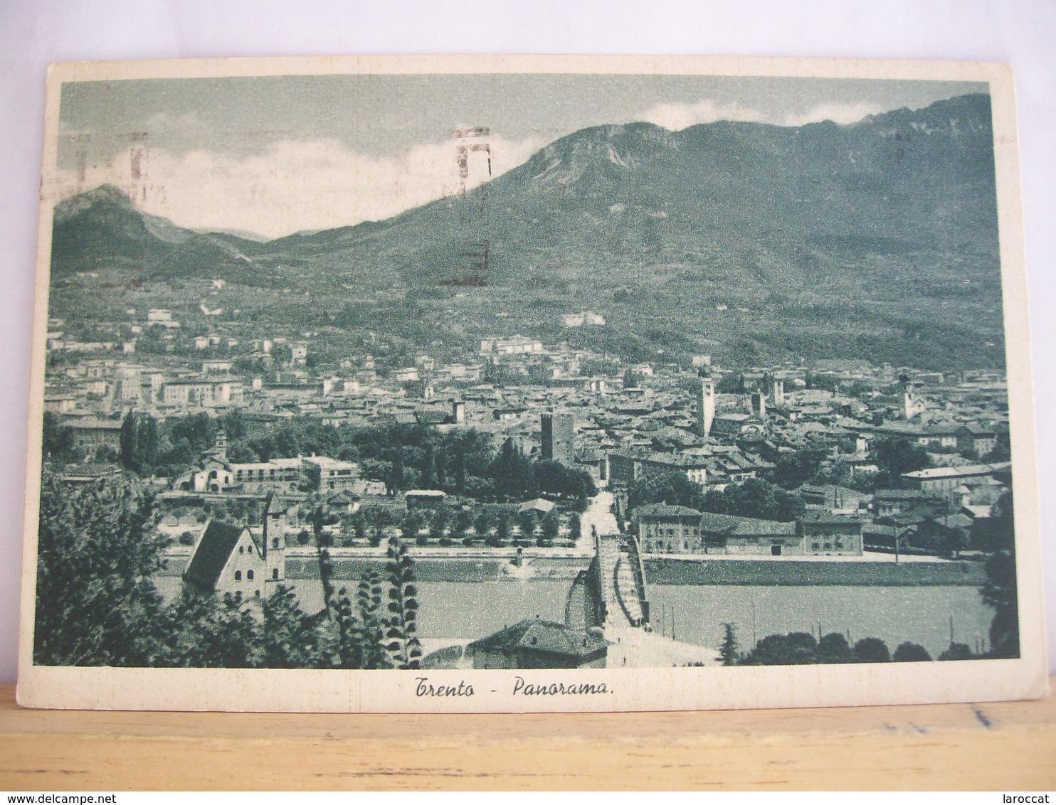 1937 - Trento - Panorama - Ponte - Timbro A Cassetta - 1 Francobollo Da 20 Cent. Caio Cesare - Trento