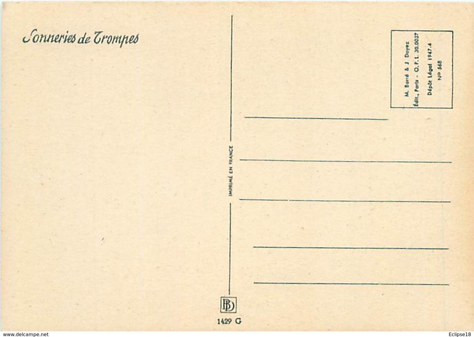 Illustrateur Barré Et Dayez 1429 G - Sonneries De Trompes  Le Lancée  Chasse Signé Jack Y 87 - Autres Illustrateurs