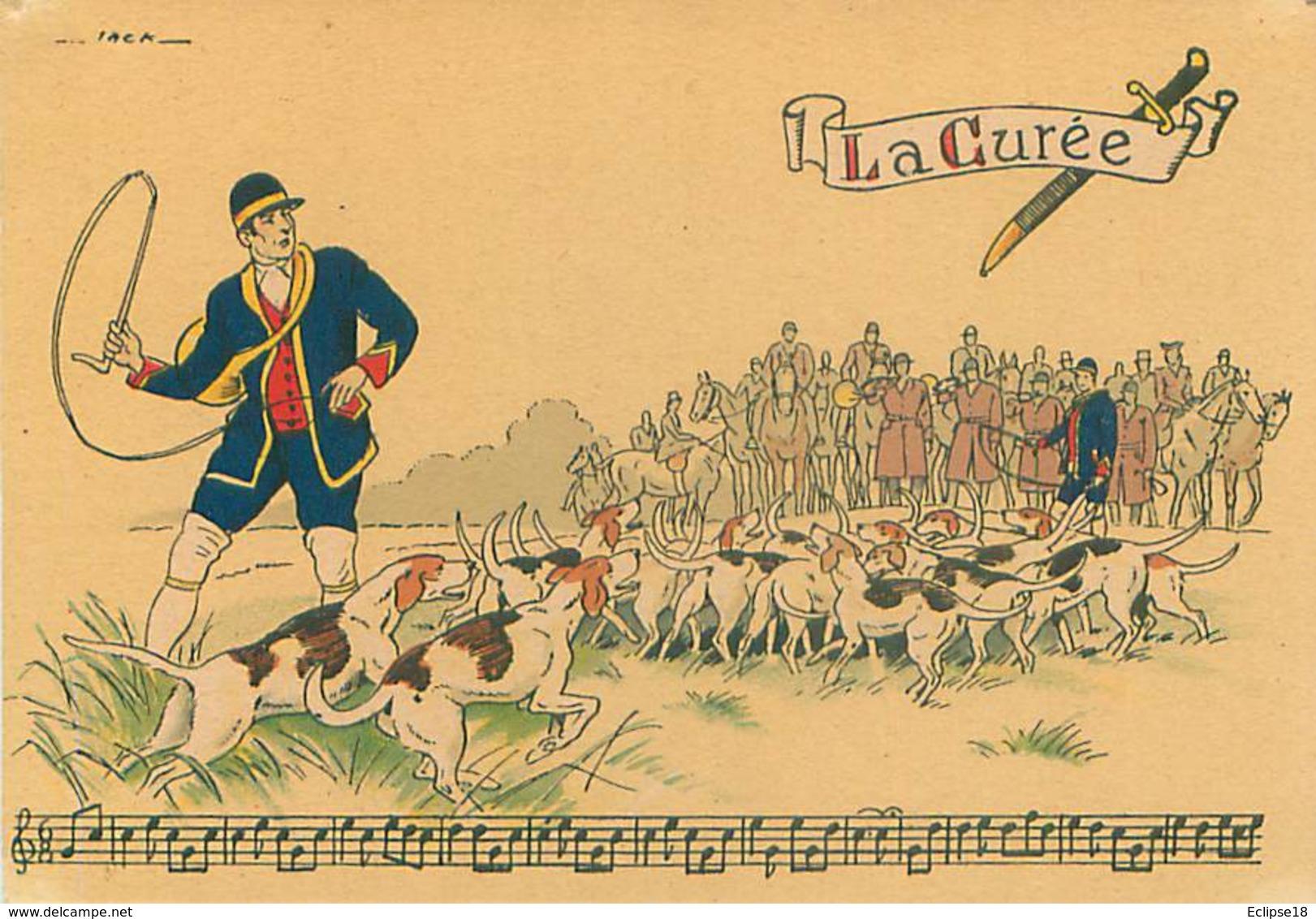 Illustrateur Barré Et Dayez 1429 O - Sonneries De Trompes  La Curée  Chasse Signé Jack Y 87 - Autres Illustrateurs