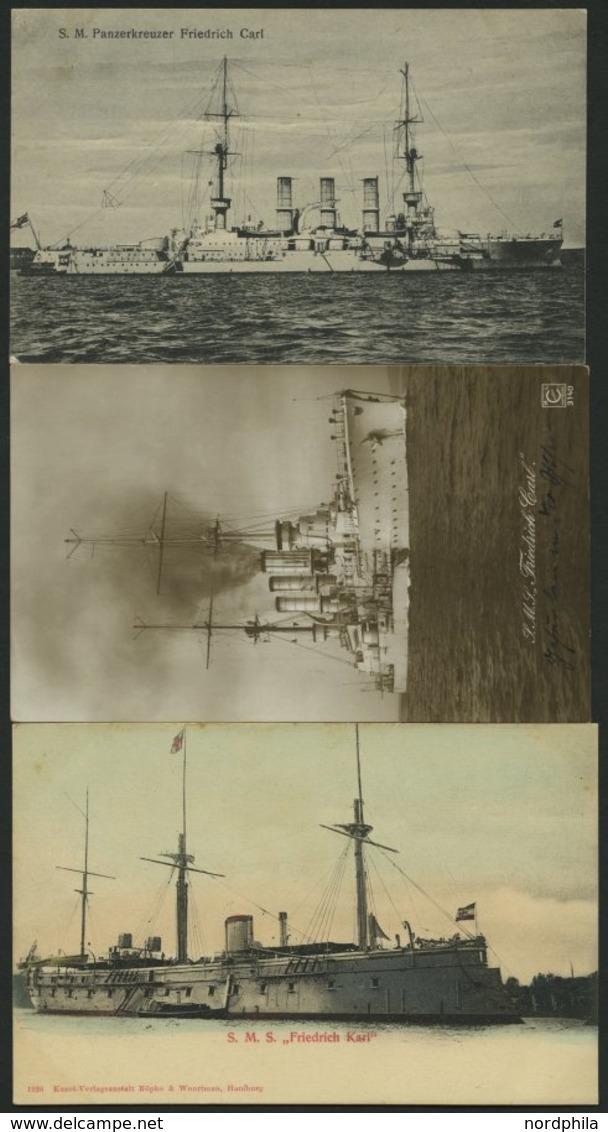 ALTE POSTKARTEN - SCHIFFE KAISERL. MARINE BIS 1918 S.M.S. Friedrich Carl, 3 Ungebrauchte Karten - Krieg