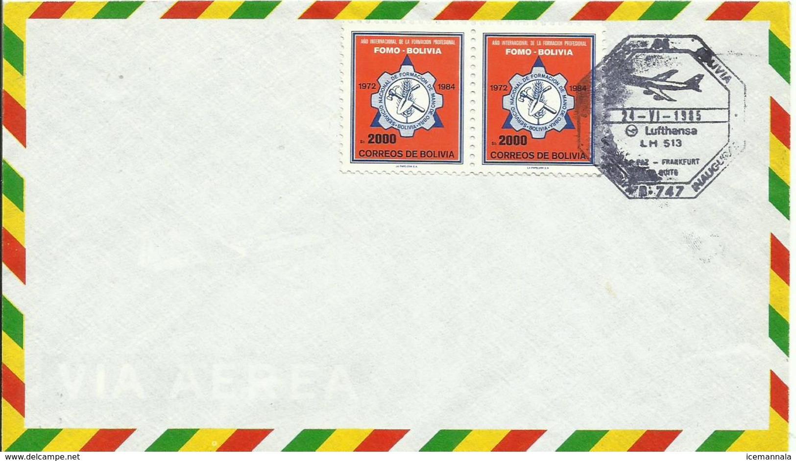 BOLIVIA SOBRE CON SELLO LUFTHANSA - Bolivia