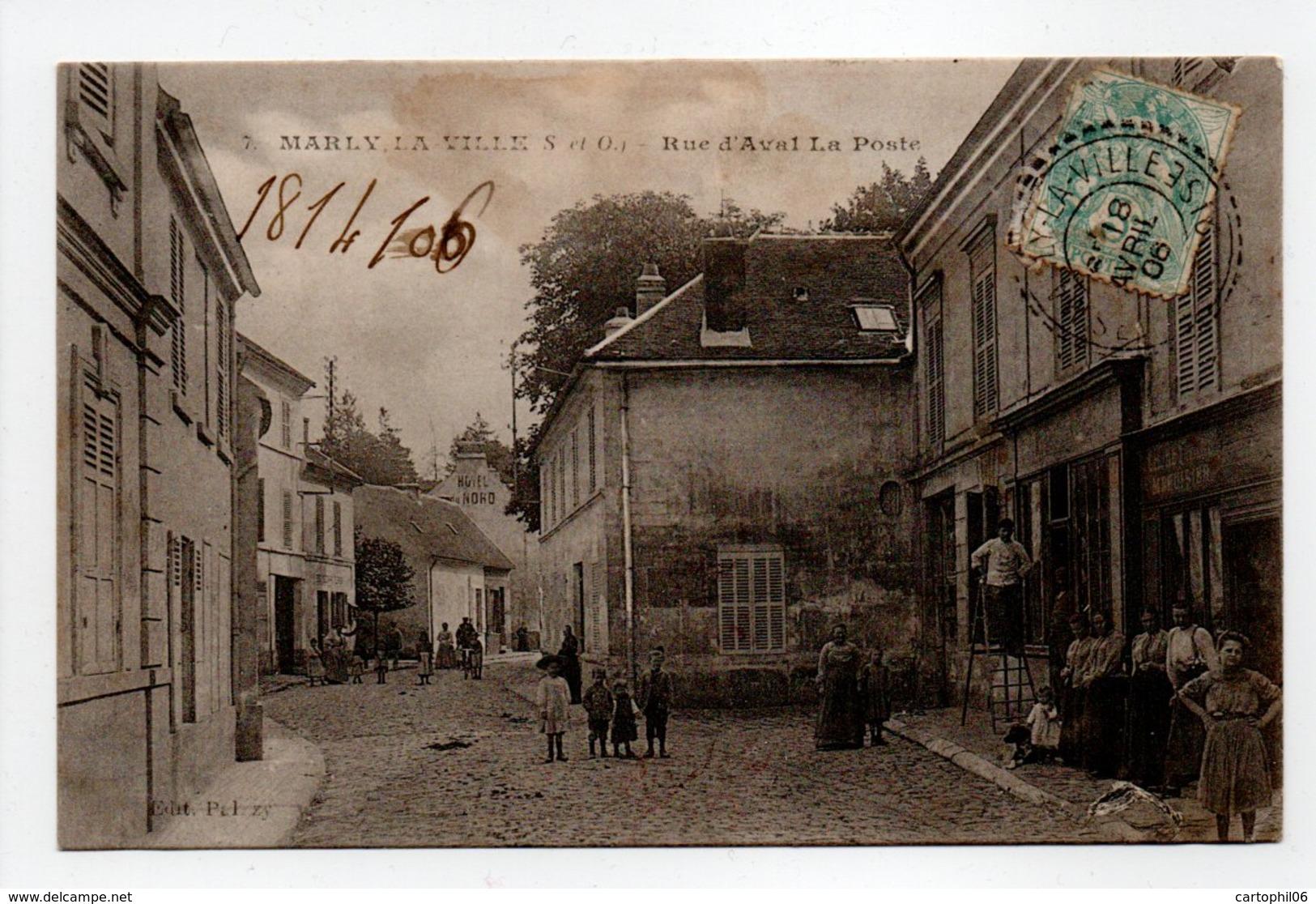 - CPA MARLY-LA-VILLE (95) - Rue D'Aval 1906 - La Poste (belle Animation) - Edition Palzzy - - Marly La Ville