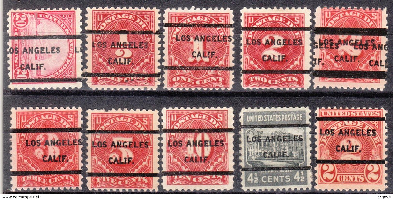 USA Precancel Vorausentwertung Preo, Locals California, Los Angeles 205, 10 Diff., Perf. 8 X 11x11, 2 X 11x10 1/2 - Vereinigte Staaten