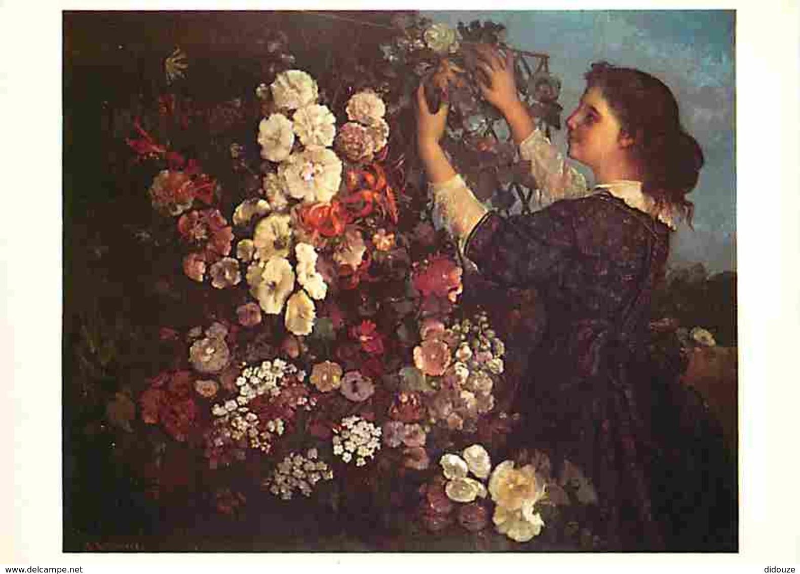 Art - Peinture - Gustave Courbet - Le Treillis Ou Jeune Fille Arrangeant Des Fleurs - Carte Neuve - Voir Scans Recto-Ver - Peintures & Tableaux