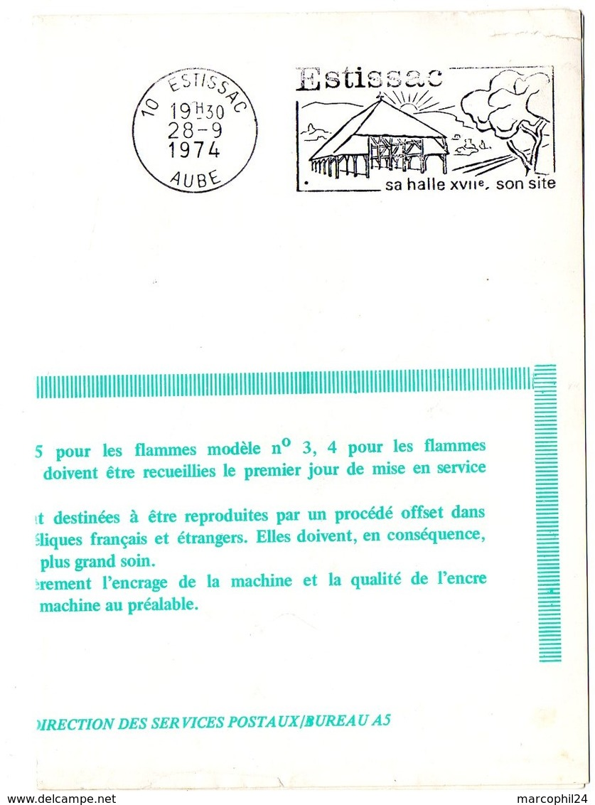 AUBE - Dépt N° 10 = ESTISSAC 1974 = FLAMME FDC = SECAP Illustrée ' HALLE ' ( - Marcophilie (Lettres)