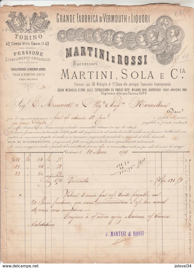 Italie Facture Illustrée 20/31891 MARTINI E ROSI Succ De MARTINI SOLA Vermouth E Liquori TORINO - Italie