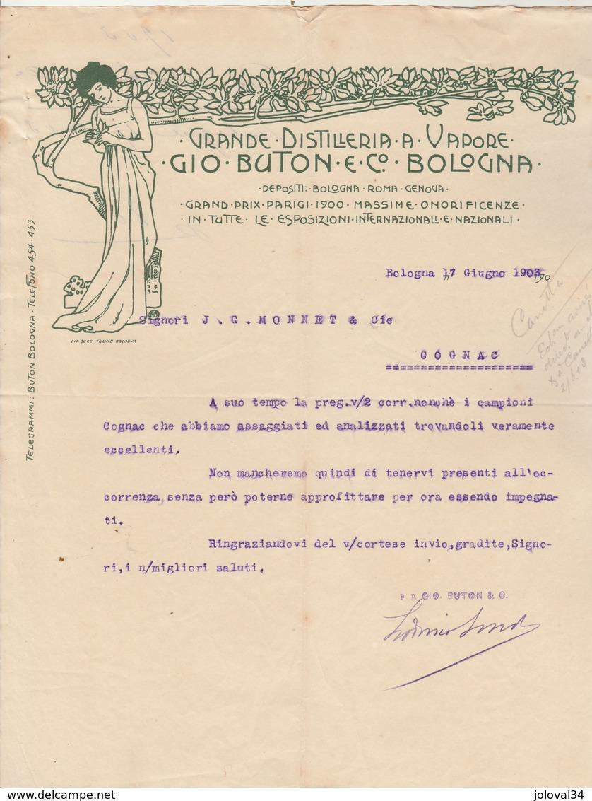 Italie Facture Lettre Illustrée 17/6/1903 GIO BUTON Distilleria A Vapore BOLOGNA - Italie