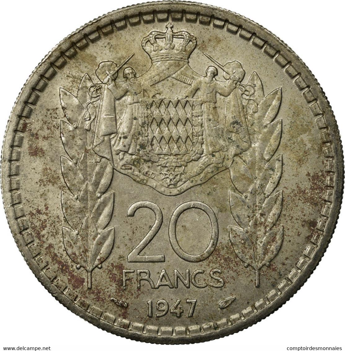 Monnaie, Monaco, Louis II, 20 Francs, Vingt, 1947, Poissy, TB+, Copper-nickel - Monaco