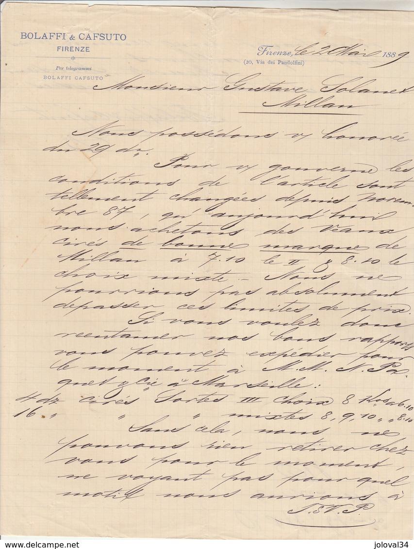 Italie Facture Lettre 2/5/1889 BOLAFFI & CAFSUTO à FIRENZE Pour Solanet Milan - Italie