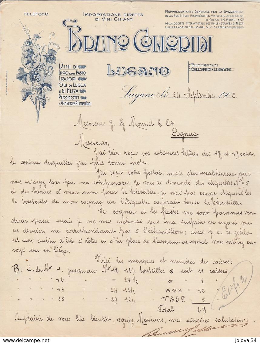 Italie Facture Lettre Illustrée 24/9/1903 BRUNO COLLORIDI Vini Chianti, Liquori Olli Di Lucca E Di Nizza Conserve LUGANO - Italie