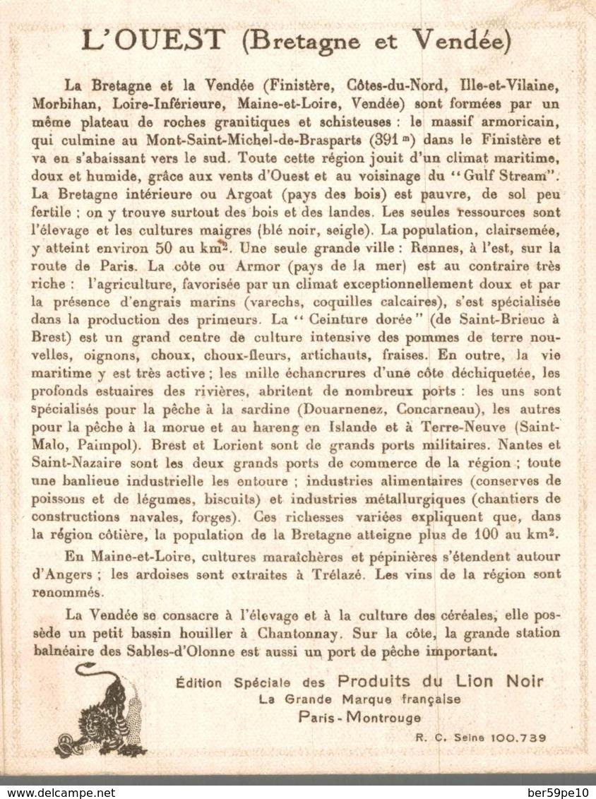 CHROMO PRODUITS DU LION NOIR PARIS-MONTROUGE  L'OUEST  BRETAGNE ET VENDEE - Chromos