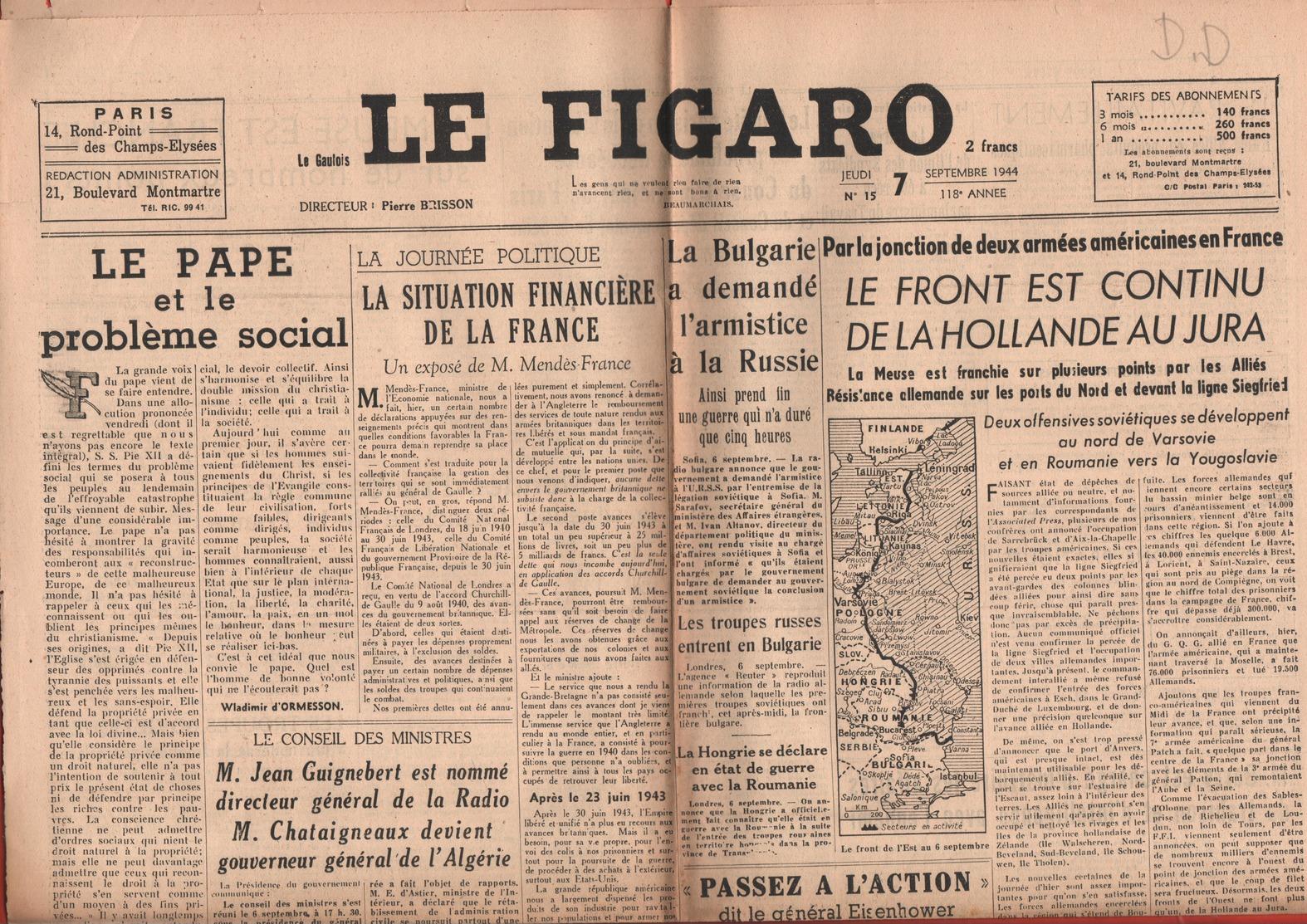 JOURNAL LE FIGARO - 7 SEPTEMBRE 1944 - LE FRONT EST CONTINU DE LA HOLLANDE AU JURA - Periódicos