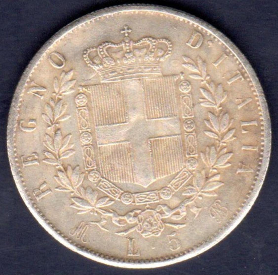 ITALIA   5   LIRE    1873 - 1861-1878 : Victor Emmanuel II
