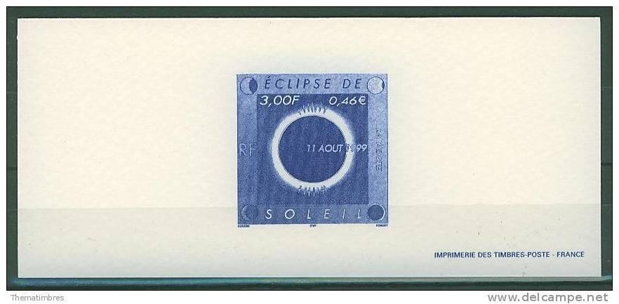 GRA3261 Eclipse De Soleil Lune 3261 France 1999 Gravure Officielle - Astronomie