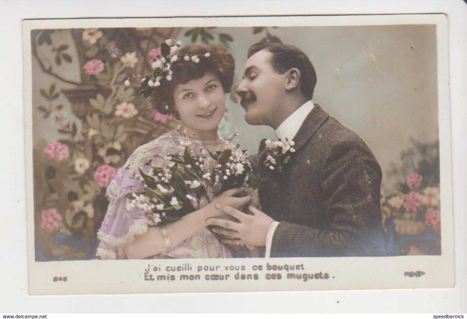 26704 Serie Couple Amoureux Fleur -Ed ? 245 -muguet 1er Mai -1907 - Couples