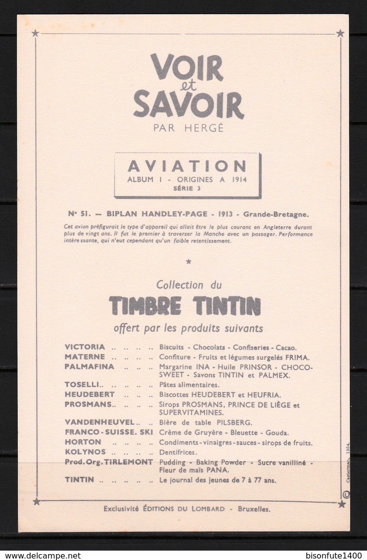 "TINTIN / Chromo ""Voir Et Savoir"" Par Hergé : Aviation Origine N° 51 - Edition LOMBARD - Altri"