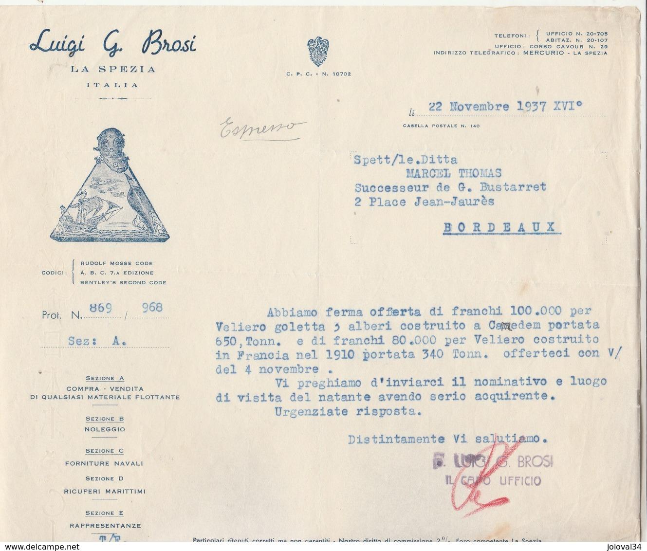 Italie Facture Lettre Illustrée Bateau 22/11/1937 Luigi G Brosi LA SPEZIA - Fournitures Navales Matériel Flottant - Italie