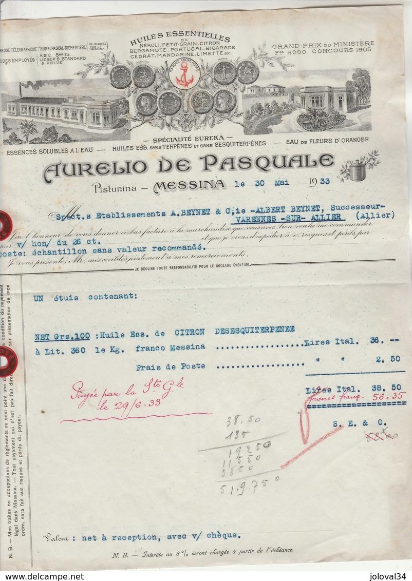 Italie Facture  Illustrée 30/5/1933 Aurelio De Pasquale Huiles Essentielles Pistunina MESSINA - Italie