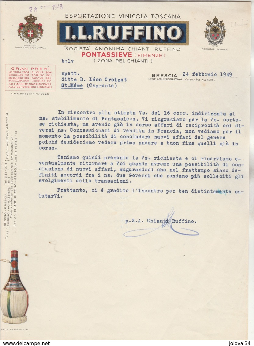 Italie Facture Lettre Illustrée 24/2/1949 I L RUFFINO Vini Toscana Chianti PONTASSIEVE  Firenze BRESCIA - Italie