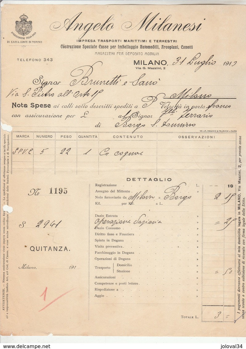 Italie Facture Illustrée 31/7/1913 ANGELO MILANESI Trasporti Marittimui E Terrestri MILANO - Italie