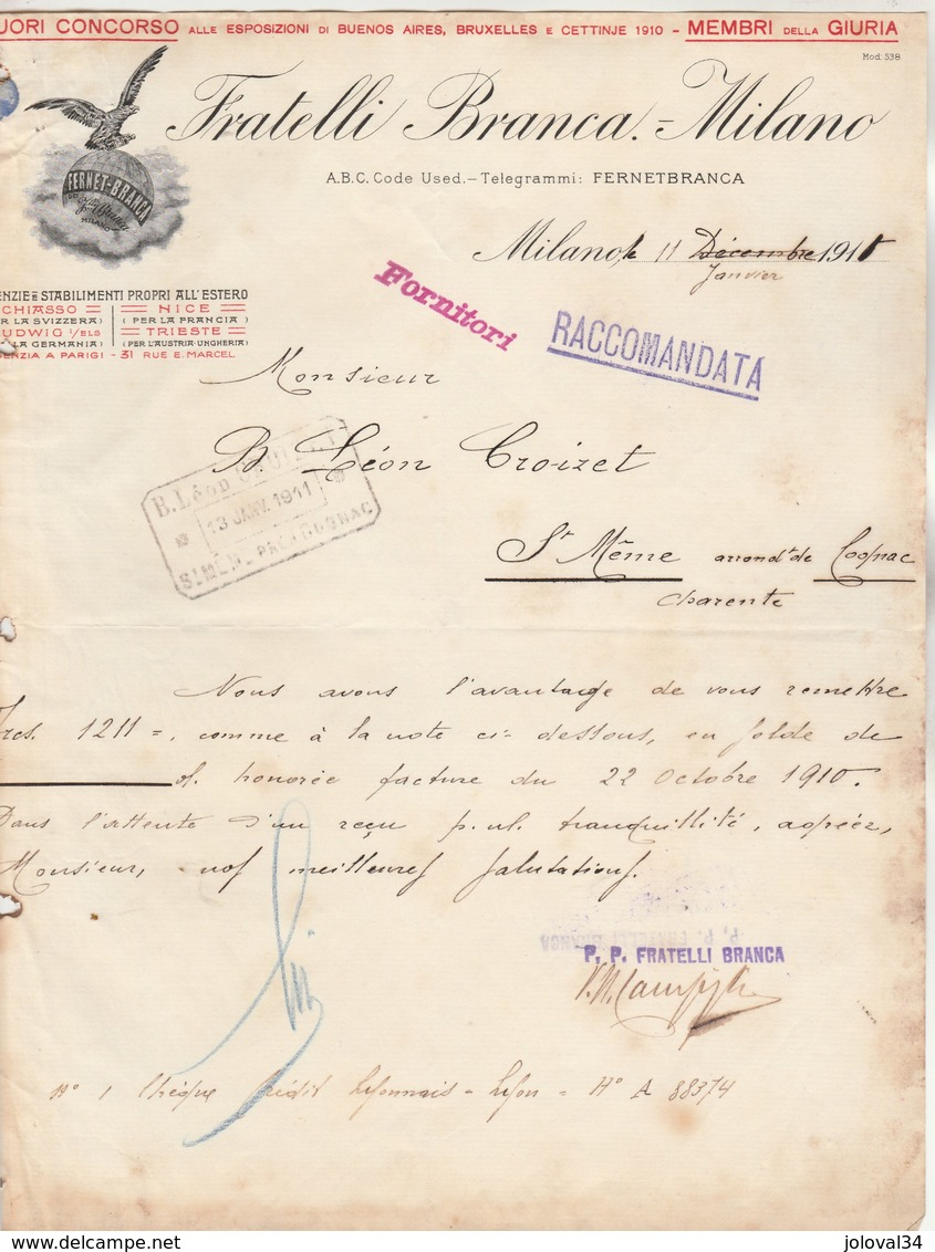 Italie Facture Lettre Illustrée 11/1/1911 FRATELLI BRANCA - Fernet Branca MILANO - Froissée MILANO - Italie