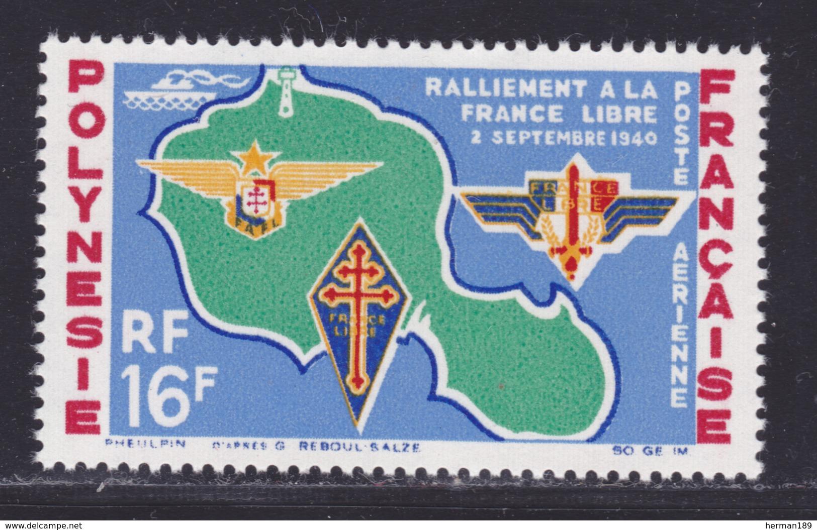 POLYNESIE AERIENS N°    8 ** MNH Neuf Sans Charnière, TB (D8268) Anniversaire Du Ralliement à La France Libre - 1964 - Airmail