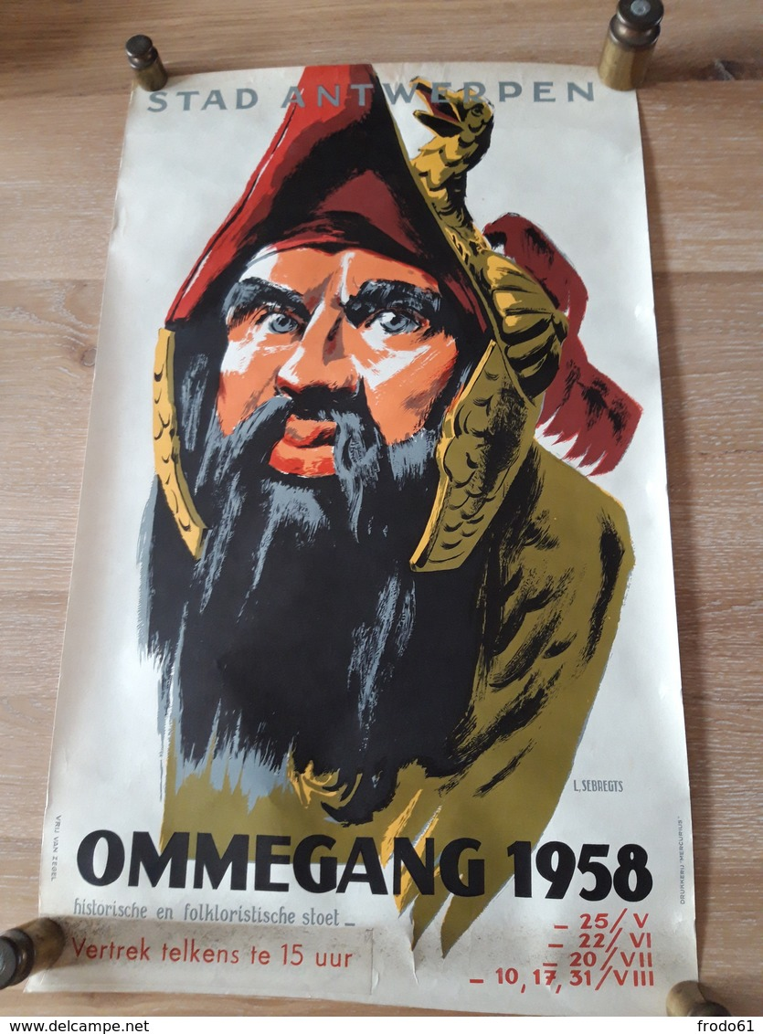 OUDE AFFICHE 1950-1965, ANTWERPEN, OMMEGANG 1958,  (+/- 30X50 Cm)), - Posters