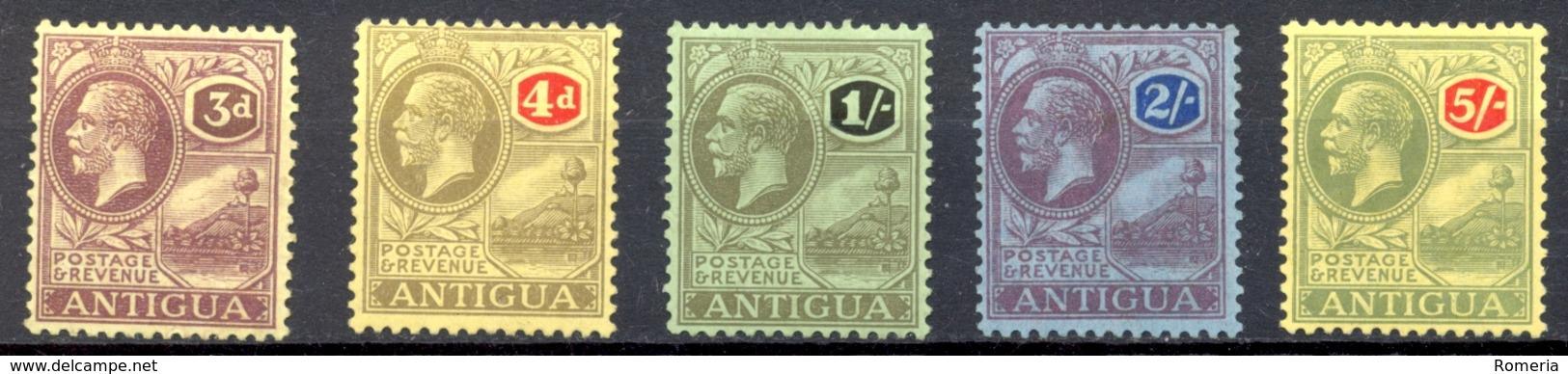 Antigua - 1921/1922 - Yt 49 - 50 - 51 - 52 - 54 - * Charnières - Antigua & Barbuda (...-1981)
