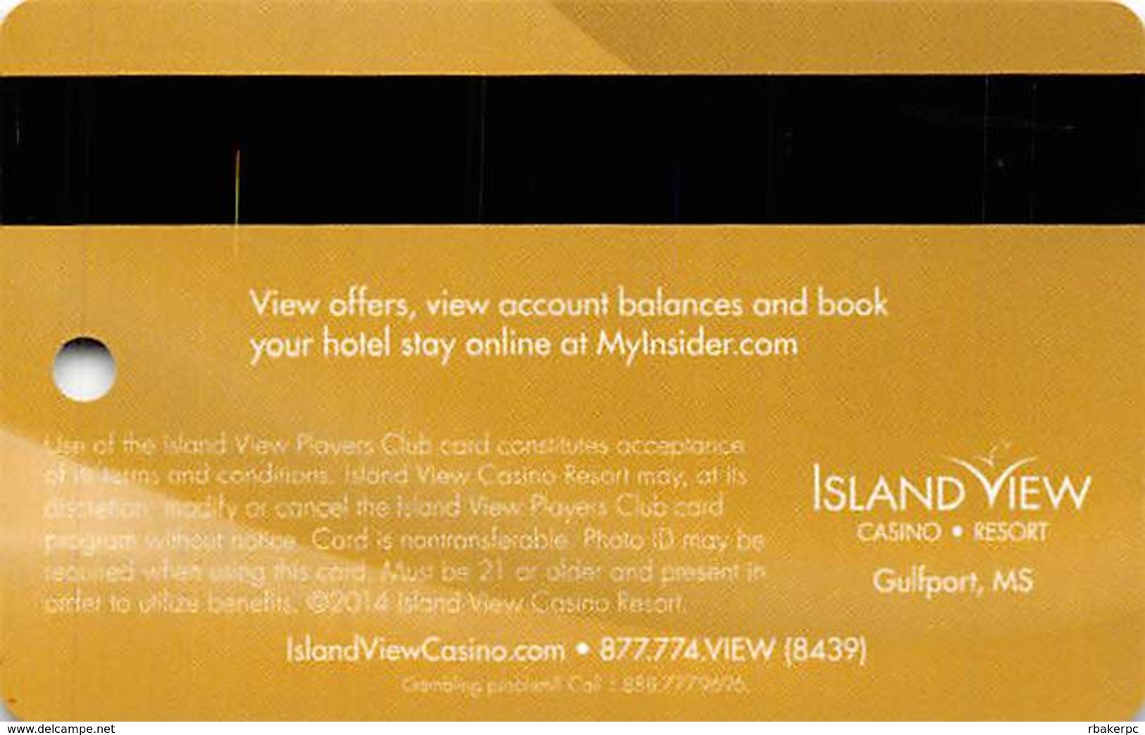 Island View Casino - Gulfport, MS USA - Insider Ultimate Slot Card - Copyright 2014 - Valid Through Dec 2014 - Casino Cards