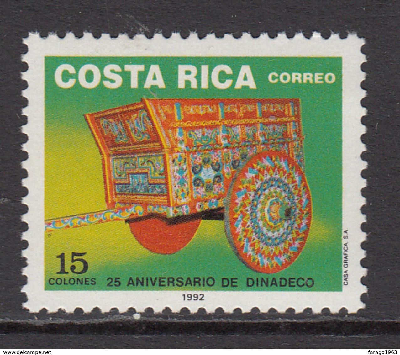 1992 Costa Rica Culture Cart Complete Set Of 1 MNH - Costa Rica