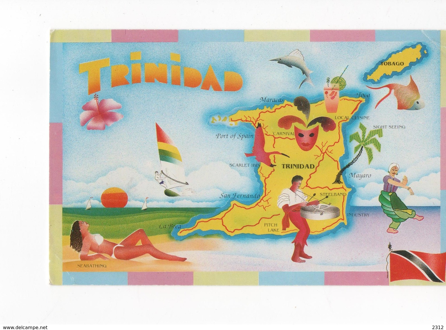 ANTILLES - TRINIDAD  - CARTE COULEUR - VOYAGEE - - Trinidad