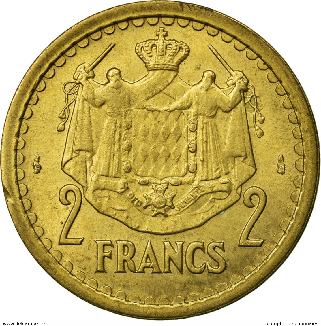 Monnaie, Monaco, Louis II, 2 Francs, Undated (1943), Paris, TTB, Aluminium - Monaco