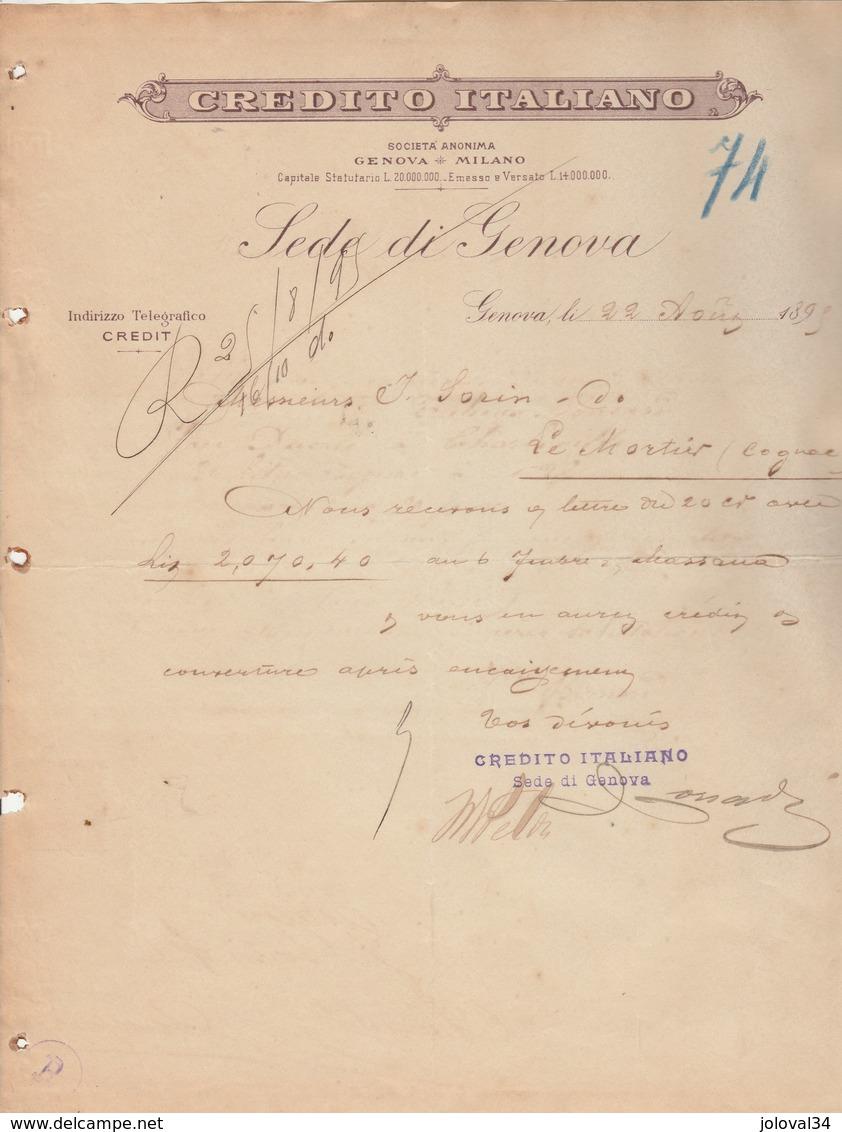 Italie Facture Lettre 23/8/1895 Sede De Genova Credito Italiano GENOVA Gênes - Italie