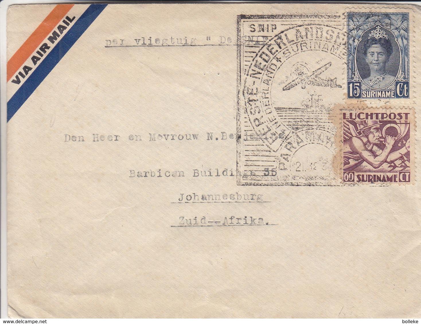 Pays Bas - Suriname - Lettre De 1934 - Oblit Paramaribo - 1er Vol - Exp Vers Johannesburg - Cachet Willemstad Curacao - Surinam ... - 1975