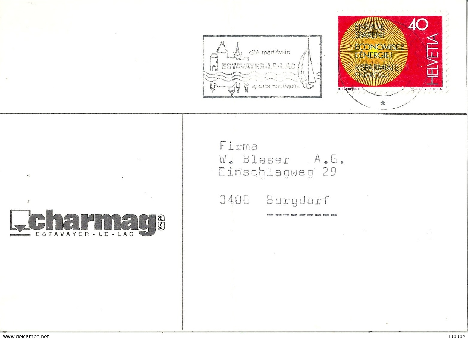 "Motiv Karte  ""Charmag, Estavayer-le-Lac""            1976 - Switzerland"