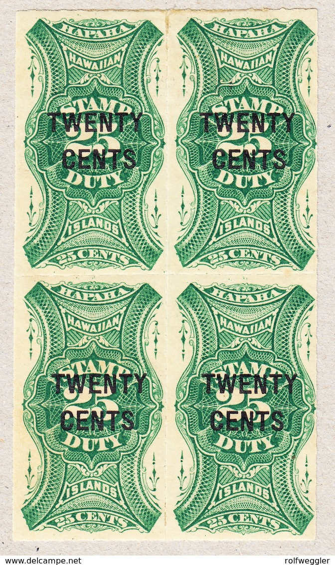 1893 25 Cent 4-er Block; Stamp Duty; Überdruckt 20 Cents; Revenue Stamp - Hawaï