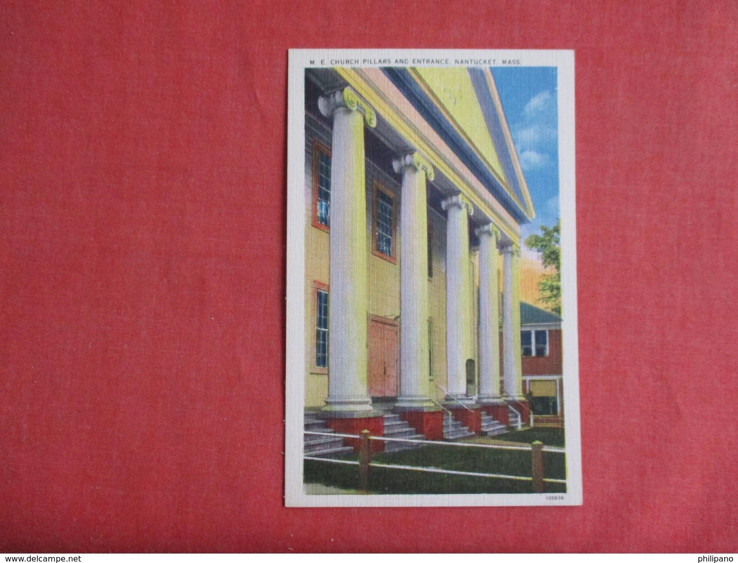M.E. Church Pillars & Entrance   Massachusetts > Nantucket    Ref 3141 - Nantucket