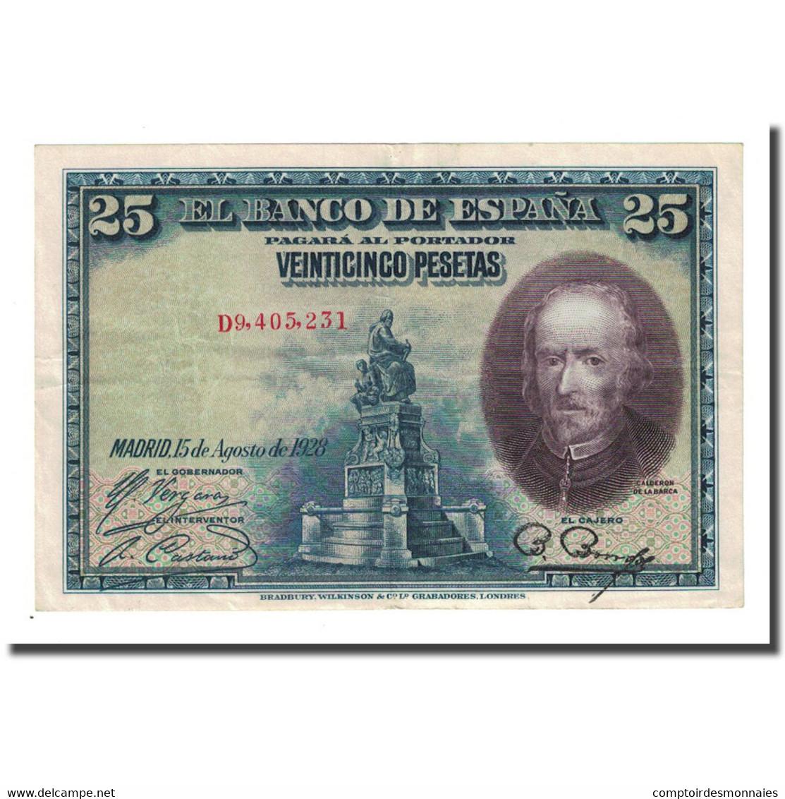Billet, Espagne, 25 Pesetas, 1928-08-15, KM:74b, SUP - [ 1] …-1931 : Eerste Biljeten (Banco De España)