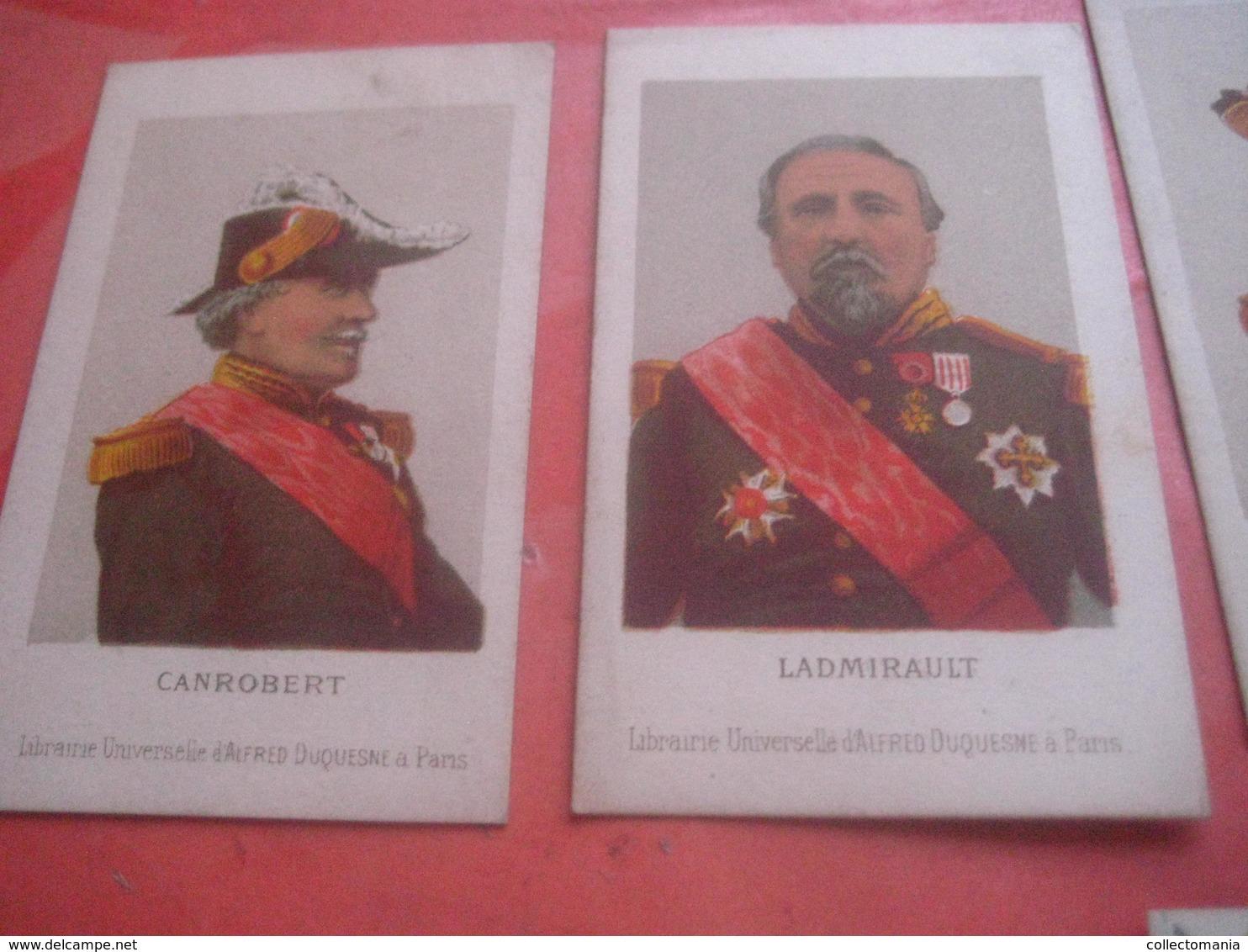 6 Cartes Libraire Universelle D'Alfred Duqeusne , C1870Vinoy Ladmirault Canrobert Pothuau Aurelle De Paladines GRAVIERE - Trade Cards