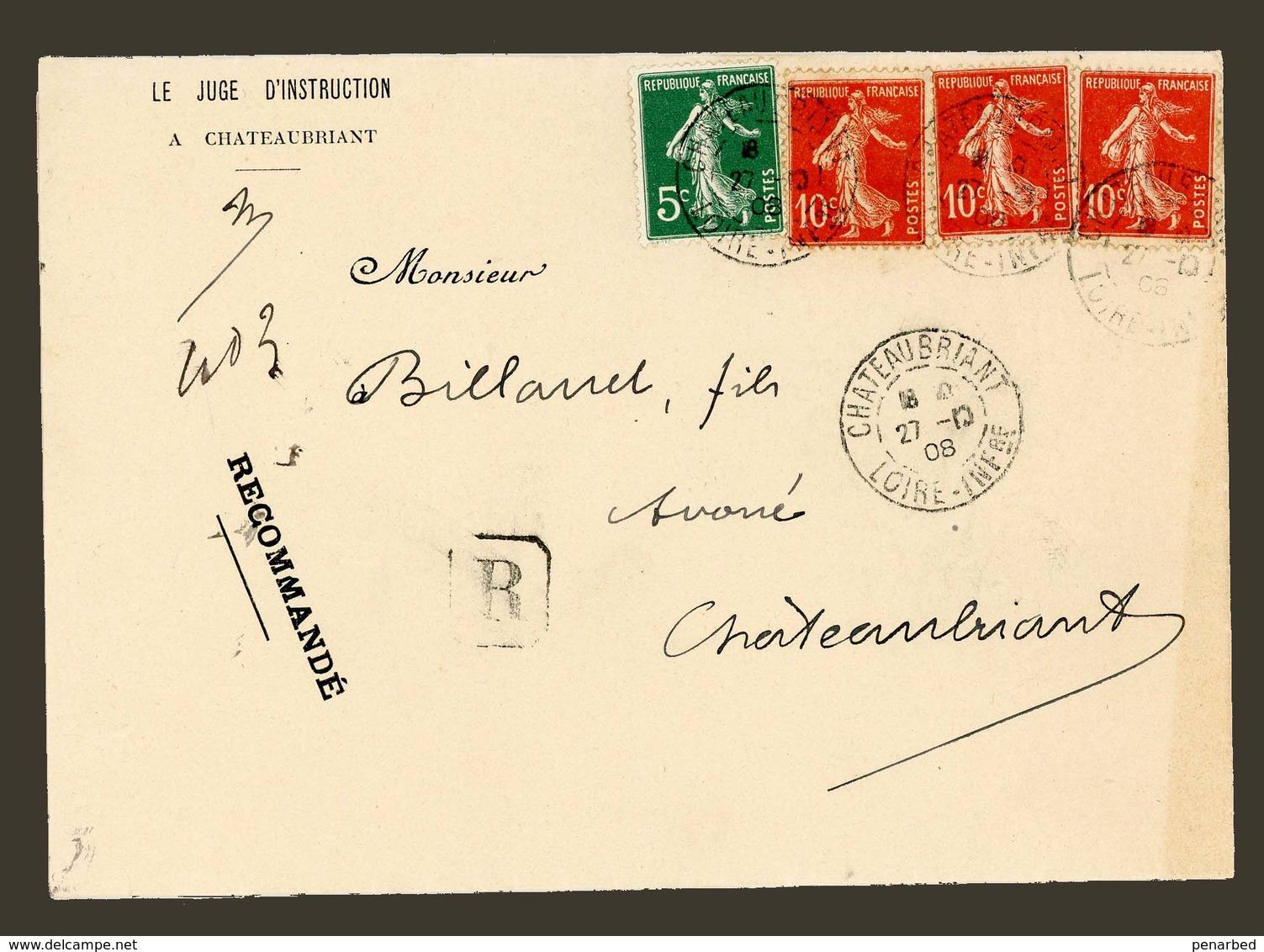 Semeuse Camée 138 Et 137 Sur  Recommandé Administration Judiciaire Du 27/10/1908, Timbres TB - Tariffe Postali